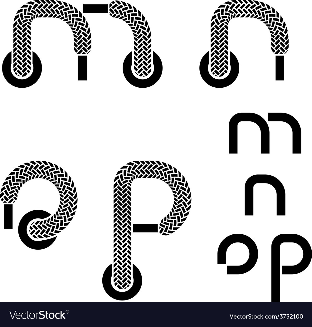 Shoelace alphabet lower case letters m n o p vector | Price: 1 Credit (USD $1)