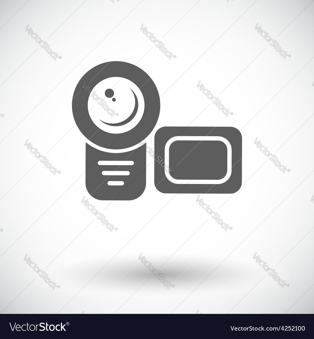 Video camera single flat icon vector | Price: 1 Credit (USD $1)