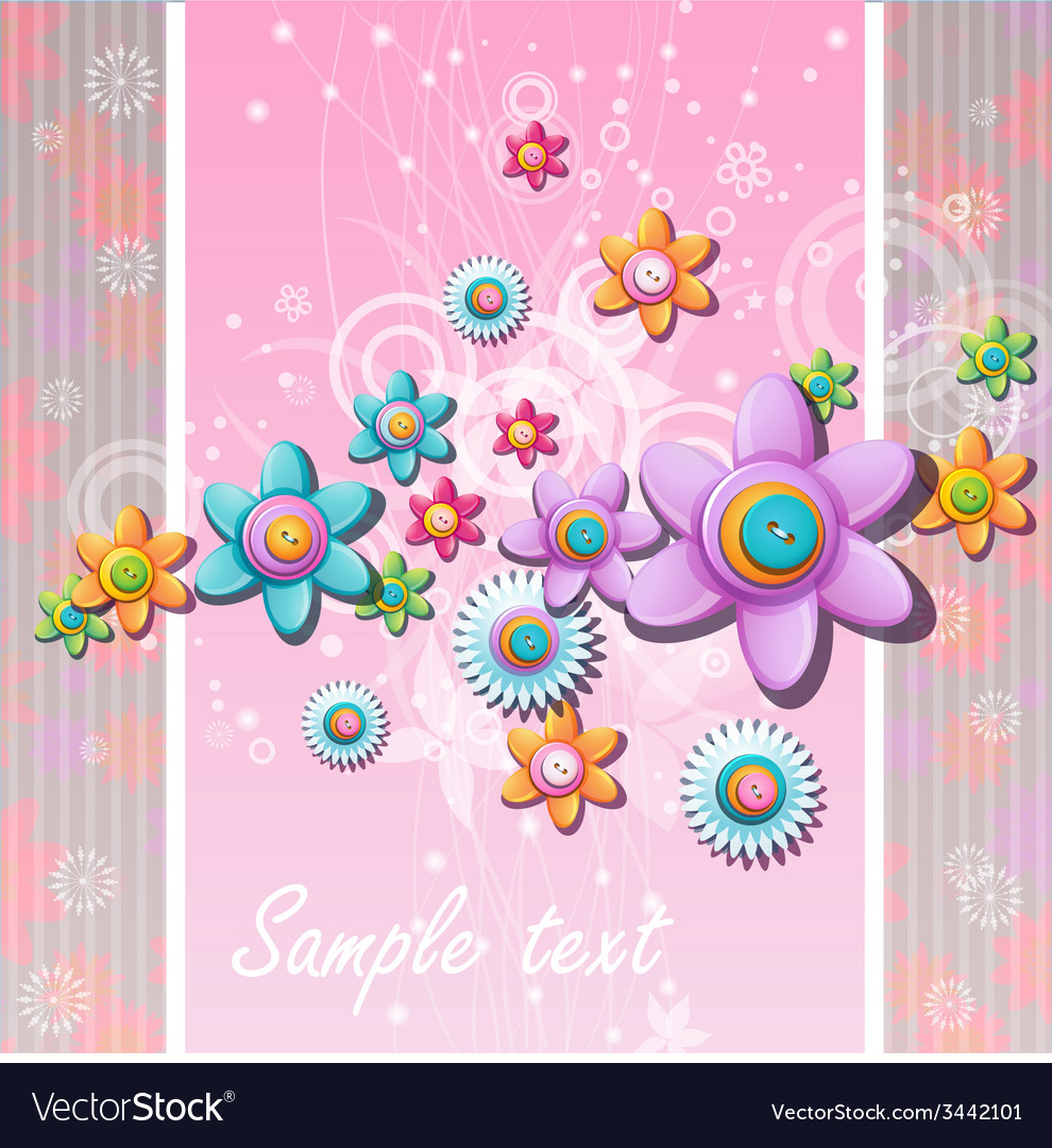 Abstract background with flowers and buttons vector | Price: 1 Credit (USD $1)