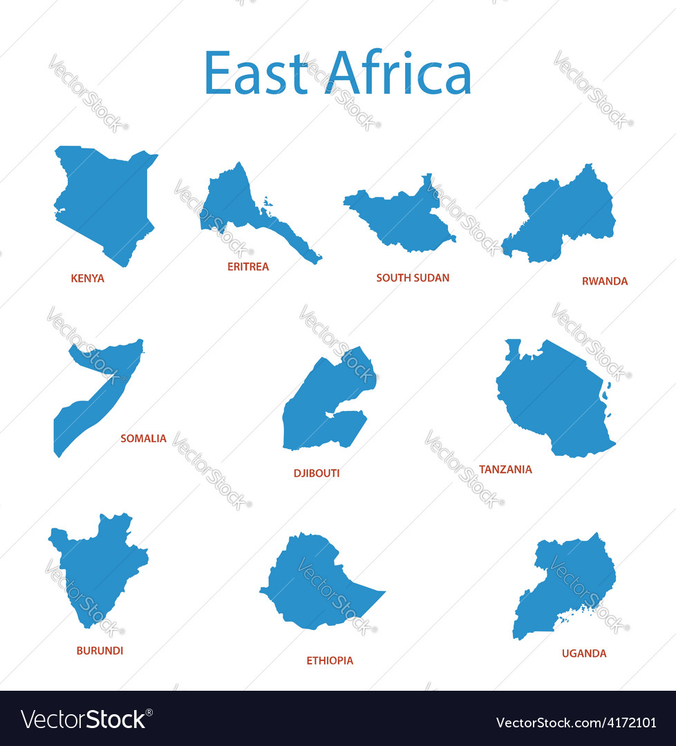 East africa - maps of territories vector | Price: 1 Credit (USD $1)