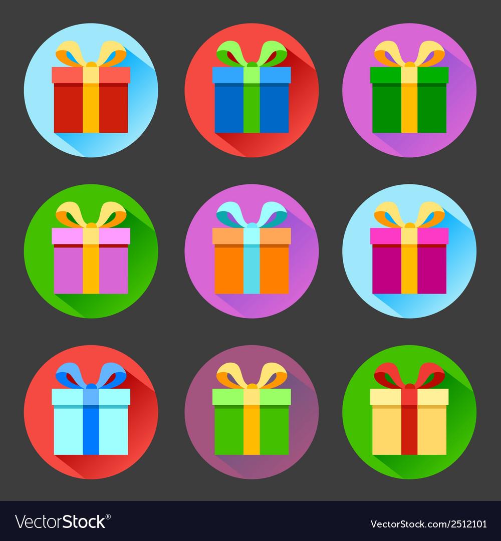 Flat gift box icons set vector   Price: 1 Credit (USD $1)