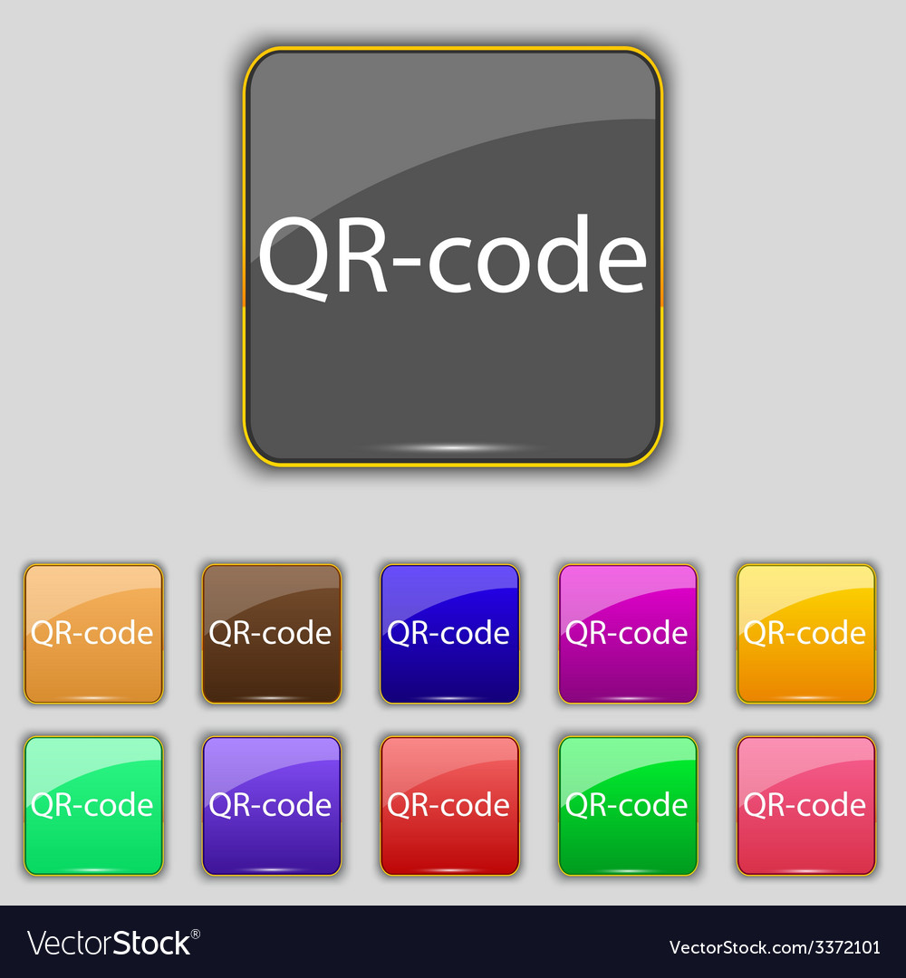 Qr-code sign icon scan code symbol set of colored vector | Price: 1 Credit (USD $1)