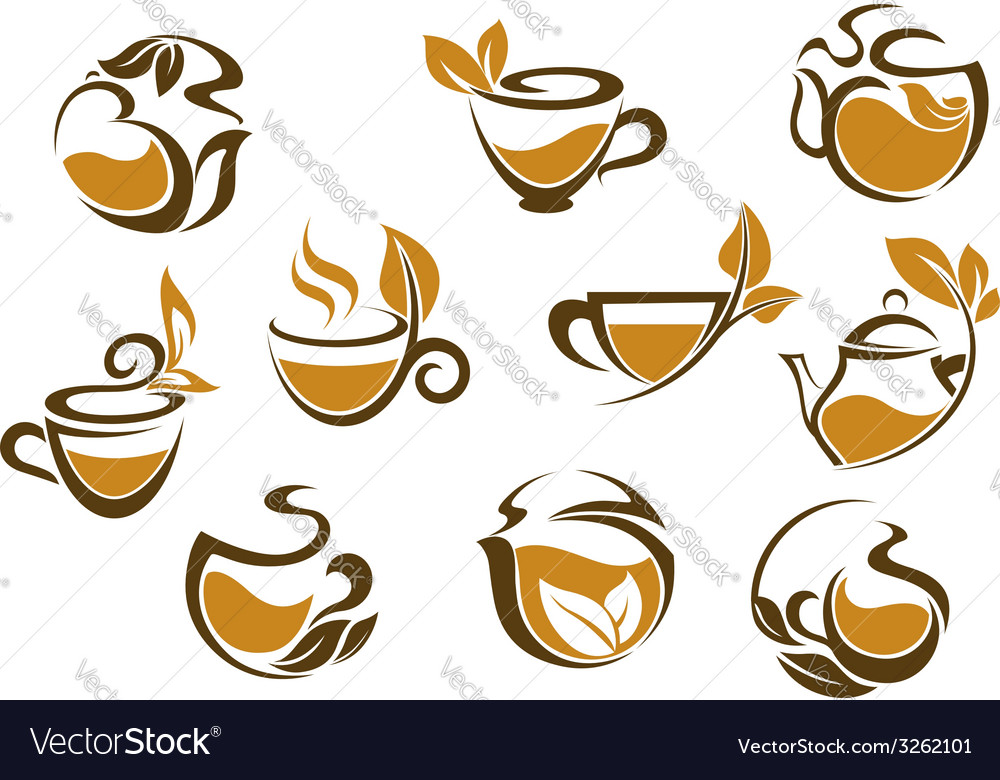 Set of herbal tea icons vector | Price: 1 Credit (USD $1)