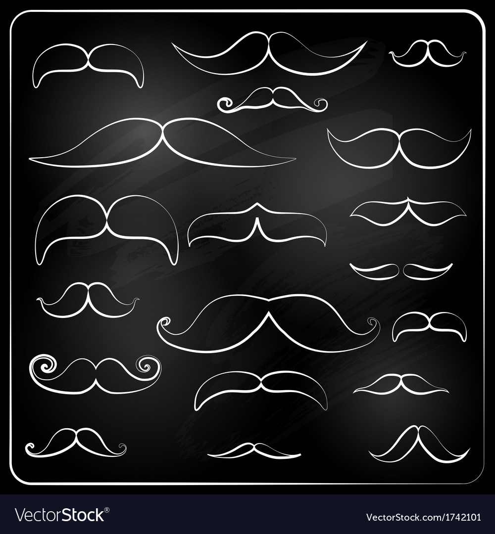 Set of moustaches drawn with chalk vector | Price: 1 Credit (USD $1)