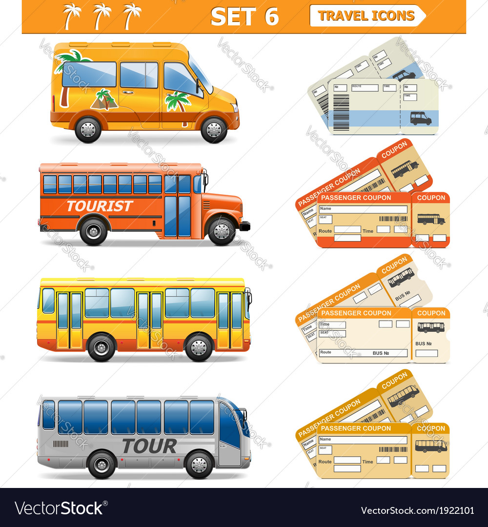 Travel icons set 6 vector | Price: 1 Credit (USD $1)