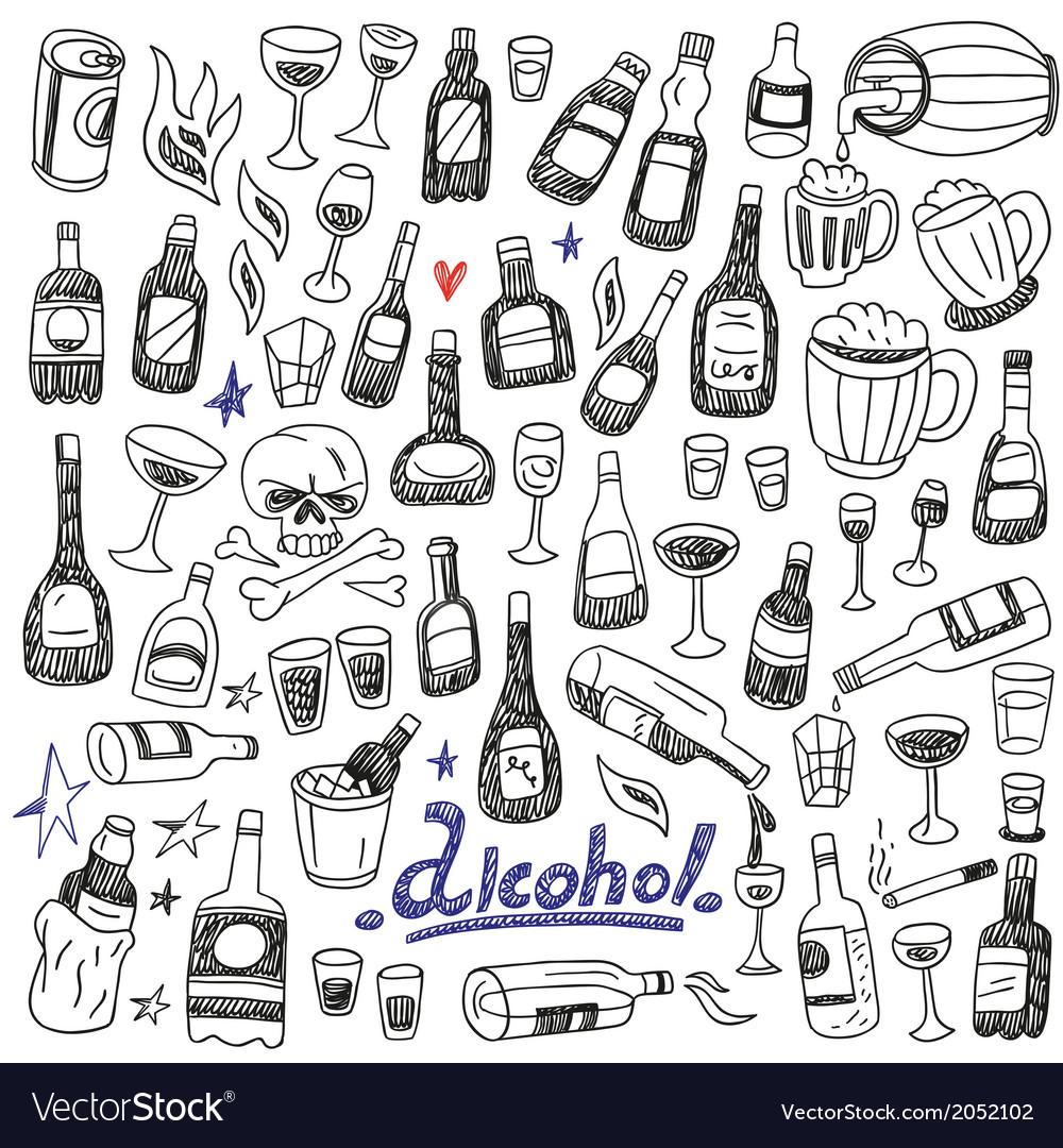 Doodle bottlesalcohol vector | Price: 1 Credit (USD $1)