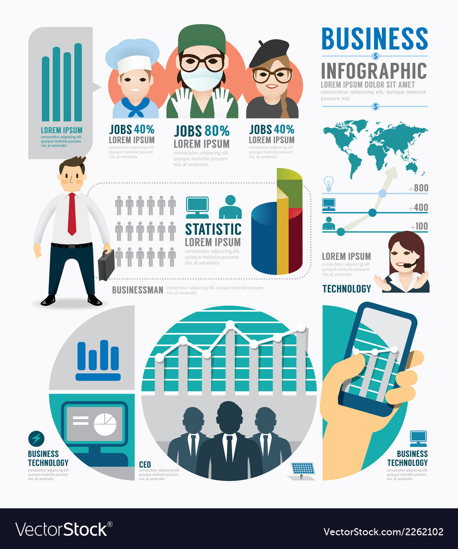 Infographic business job template design concept vector | Price: 1 Credit (USD $1)