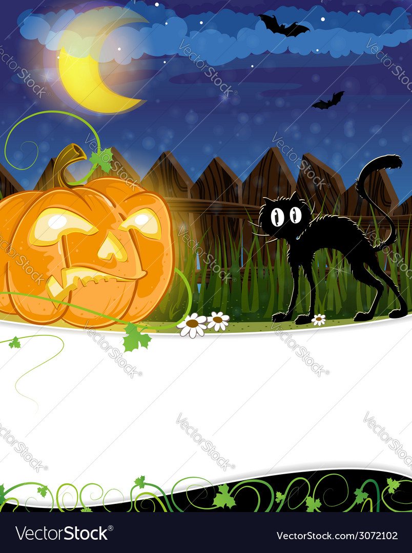 Jack o lantern and black cat vector | Price: 3 Credit (USD $3)