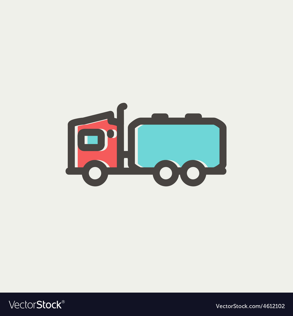 Tanker truck thin line icon vector | Price: 1 Credit (USD $1)