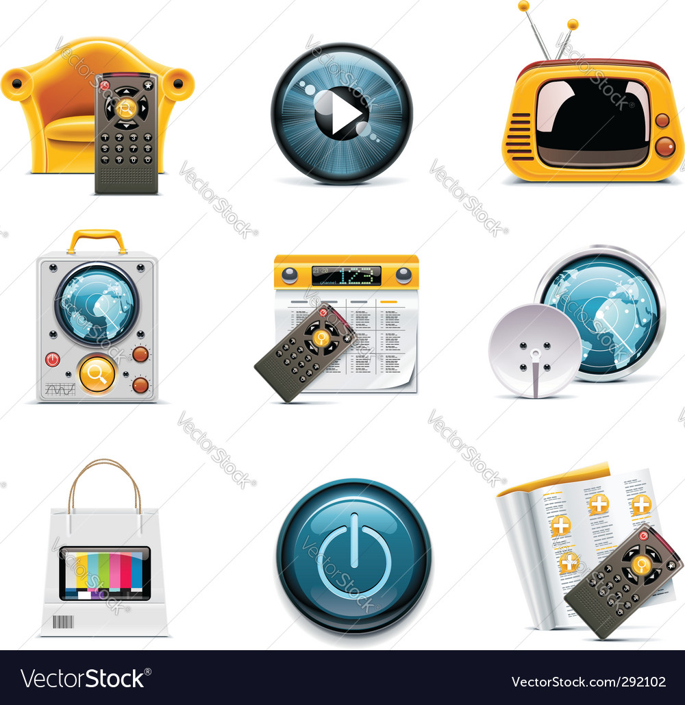 Television icons vector | Price: 5 Credit (USD $5)