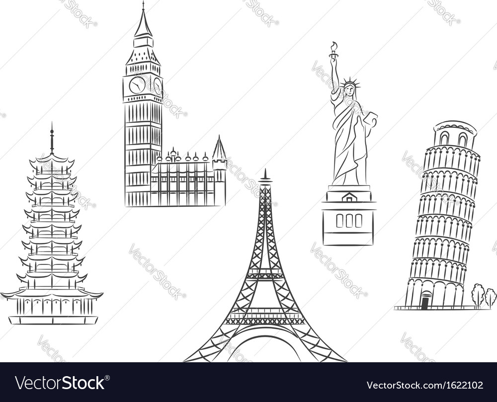Travel landmarks set vector | Price: 1 Credit (USD $1)