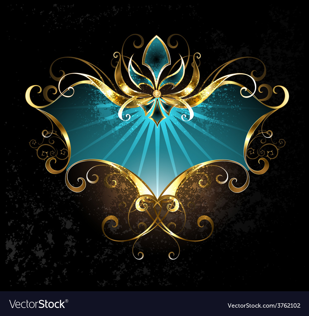 Turquoise banner with fleur de lis vector | Price: 3 Credit (USD $3)