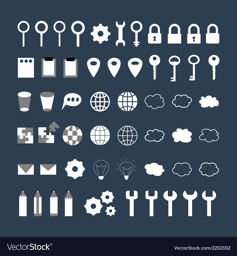 White business icons set over blue vector | Price: 1 Credit (USD $1)