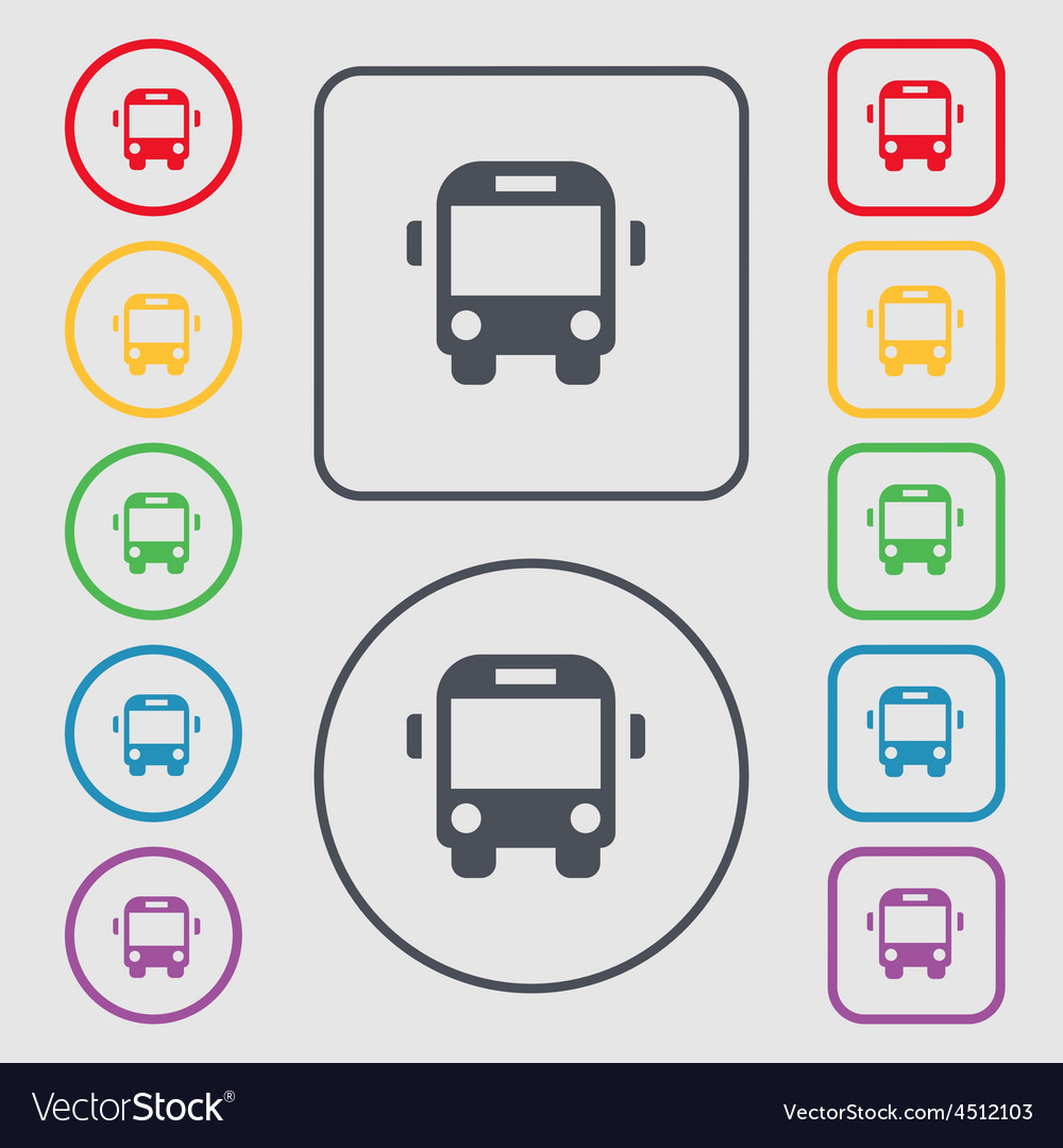 Bus icon sign symbol on the round and square vector | Price: 1 Credit (USD $1)