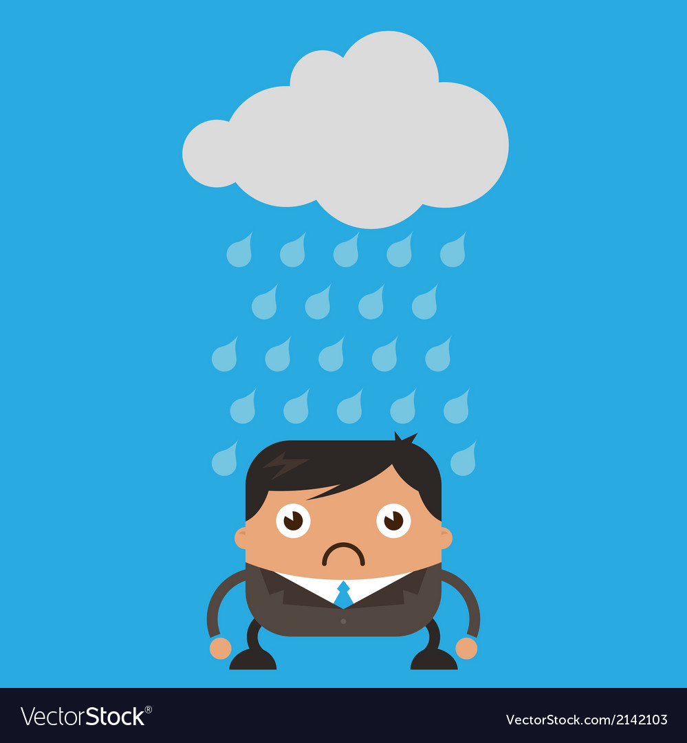 Cloud raining on business man vector | Price: 1 Credit (USD $1)