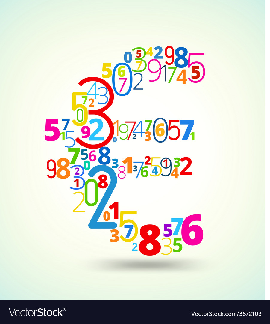 Euro sign colored font from numbers vector | Price: 1 Credit (USD $1)