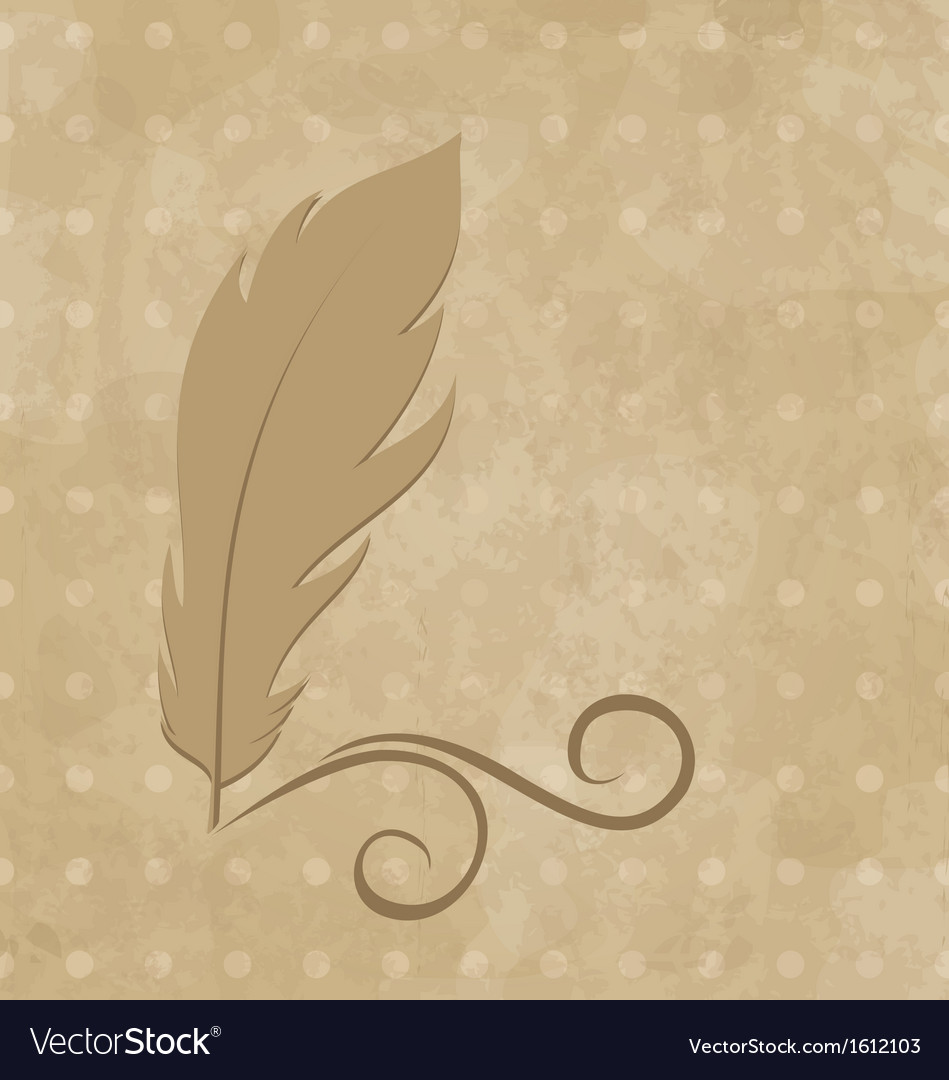 Feather calligraphic pen on vintage background vector | Price: 1 Credit (USD $1)