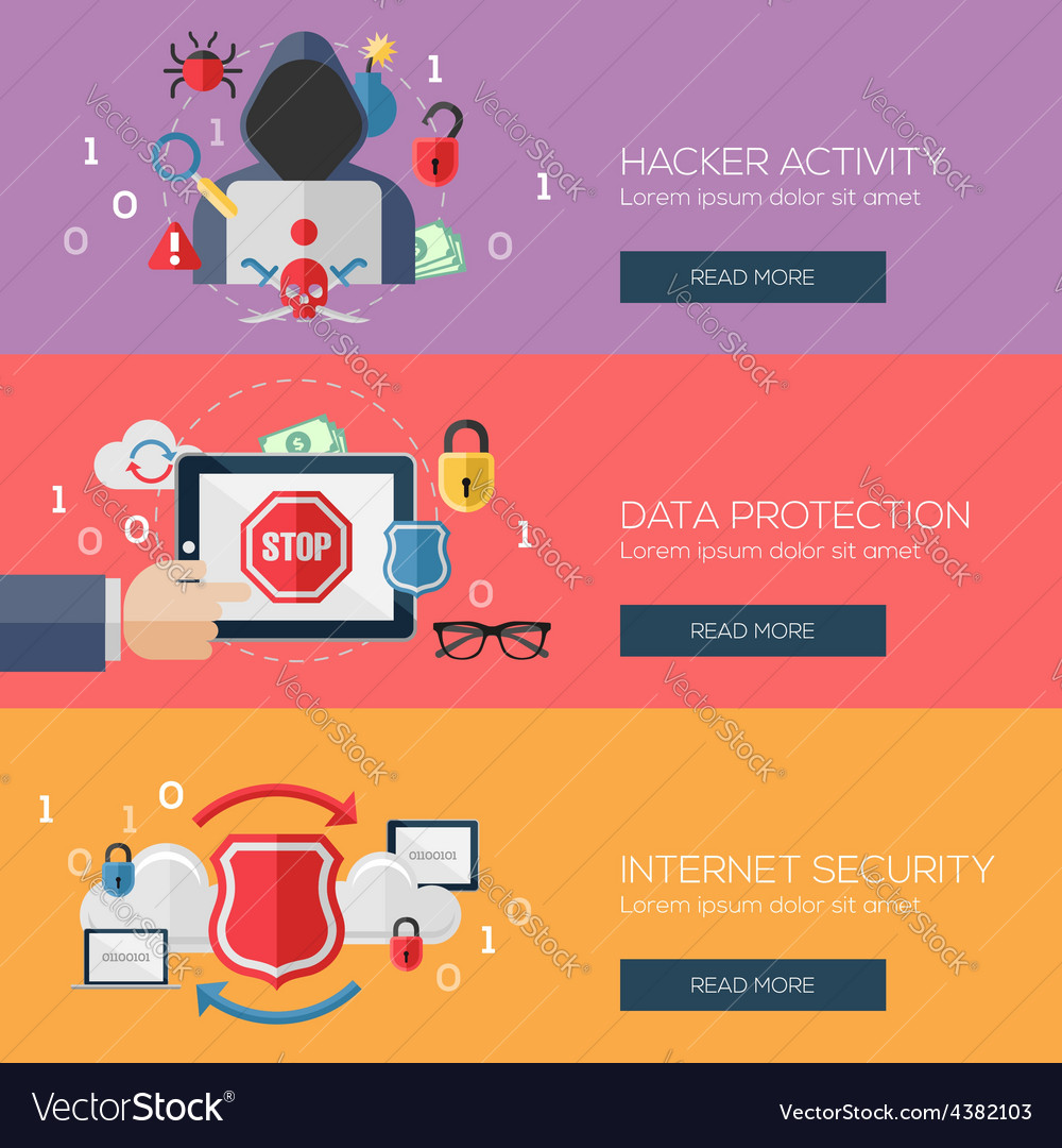 Flat design concepts for internet security vector | Price: 1 Credit (USD $1)