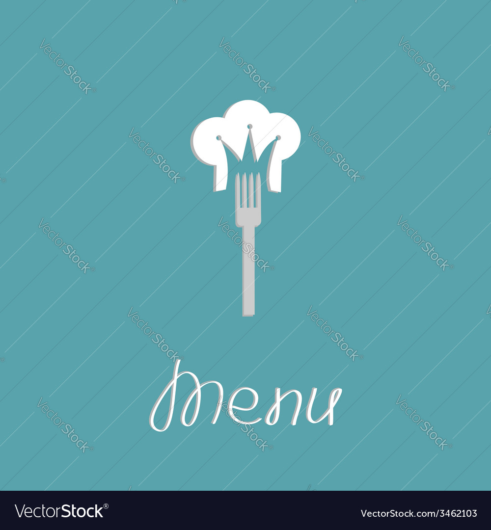 Fork and chef hat shape of crown menu cover flat vector | Price: 1 Credit (USD $1)