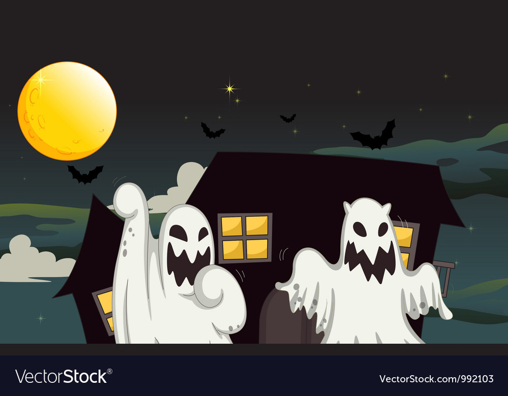 Halloween ghost background vector | Price: 1 Credit (USD $1)