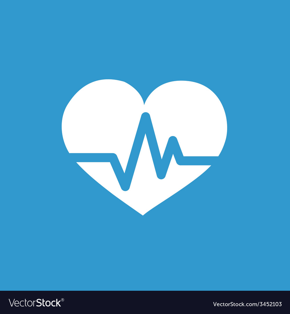 Heart pulse icon white on the blue background vector | Price: 1 Credit (USD $1)