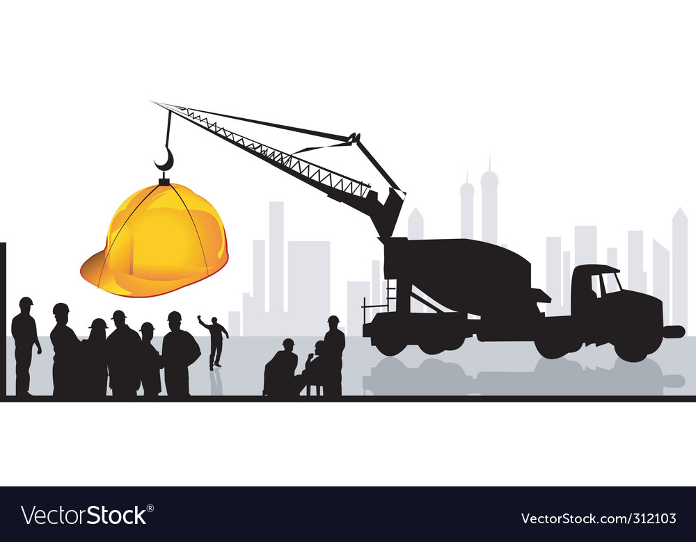 Men on construction site vector | Price: 1 Credit (USD $1)