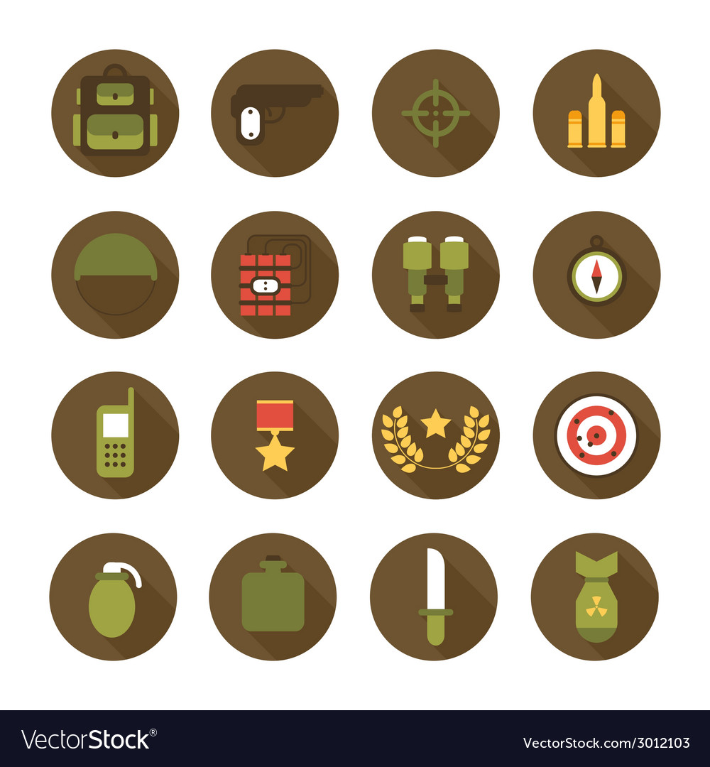Military and war icons set army infographic design vector | Price: 1 Credit (USD $1)