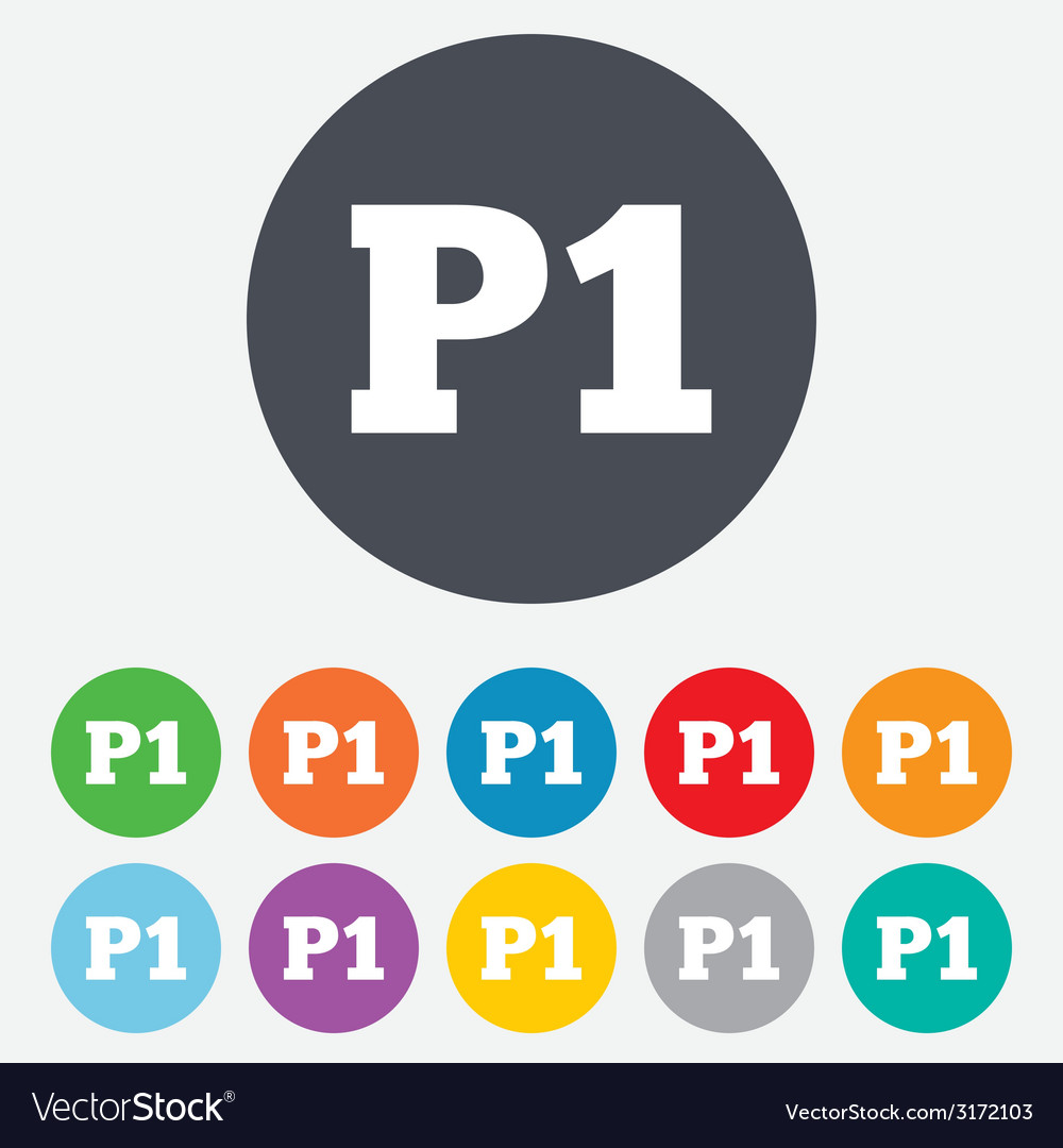 Parking first floor icon car parking p1 symbol vector | Price: 1 Credit (USD $1)