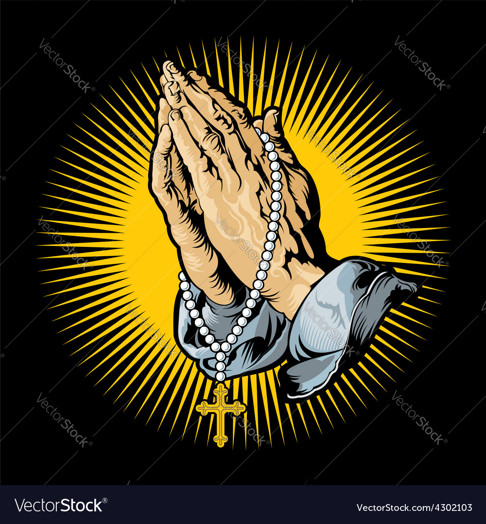 Praying hands with rosary and shining vector | Price: 3 Credit (USD $3)