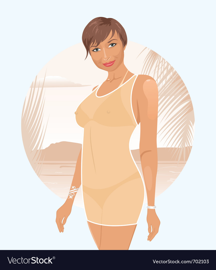 Pretty girl on summer background - vector | Price: 3 Credit (USD $3)