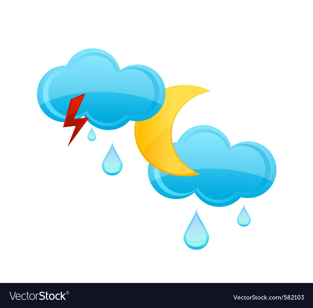 Rain cloud and drops sign vector | Price: 1 Credit (USD $1)