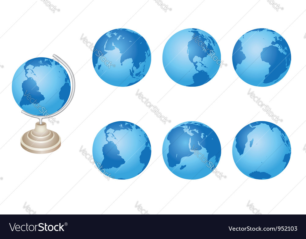 Set - blue globes of earth vector | Price: 1 Credit (USD $1)