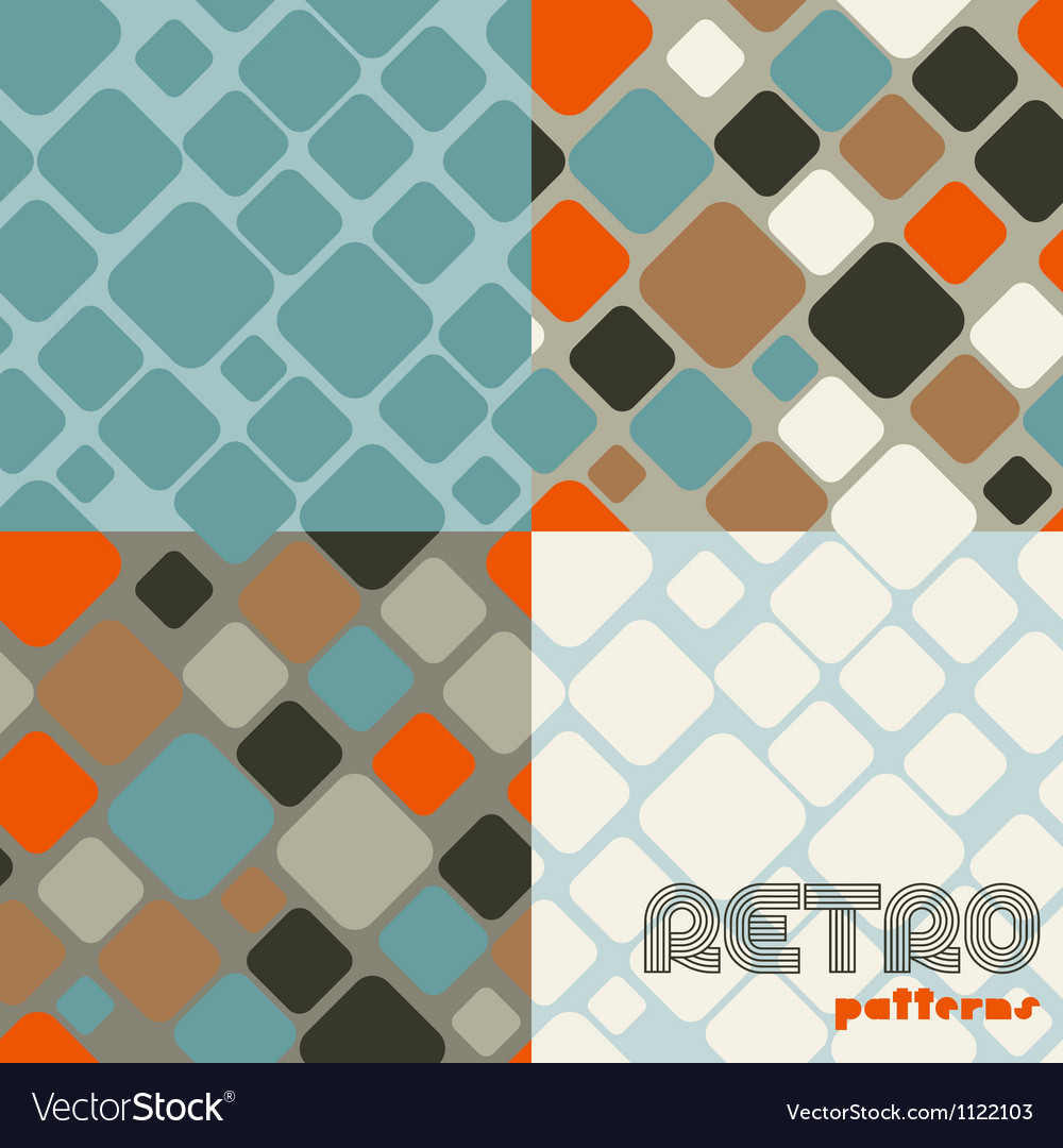 Set of four abstract retro seamless patterns vector | Price: 1 Credit (USD $1)