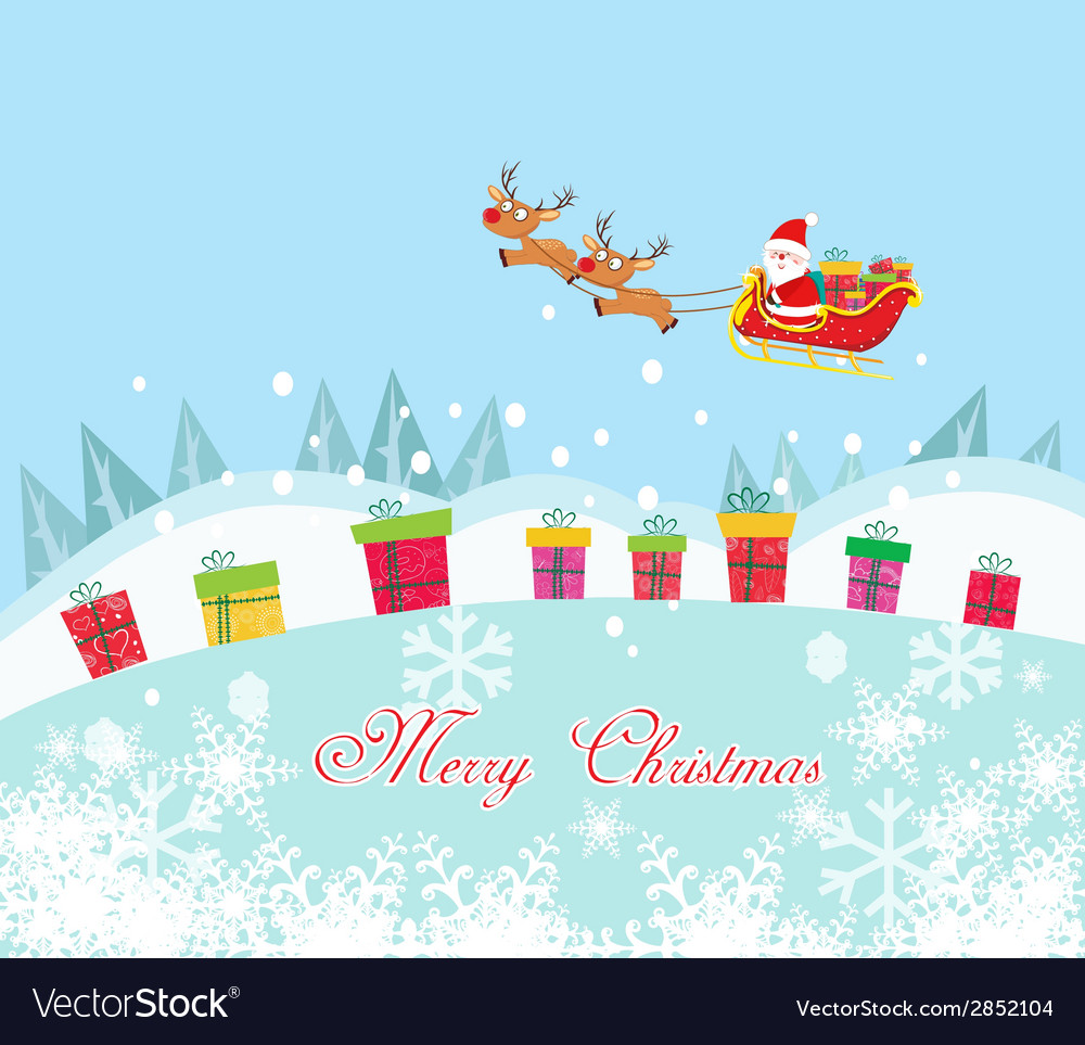 Christmas card with santa claus and gift vector | Price: 1 Credit (USD $1)