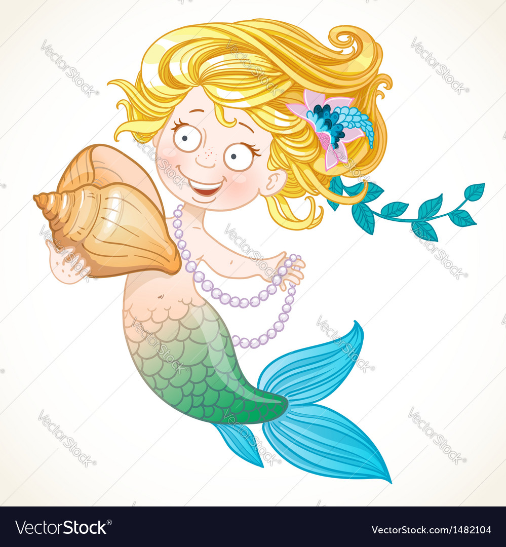 Cute little mermaid holding a shell vector | Price: 3 Credit (USD $3)
