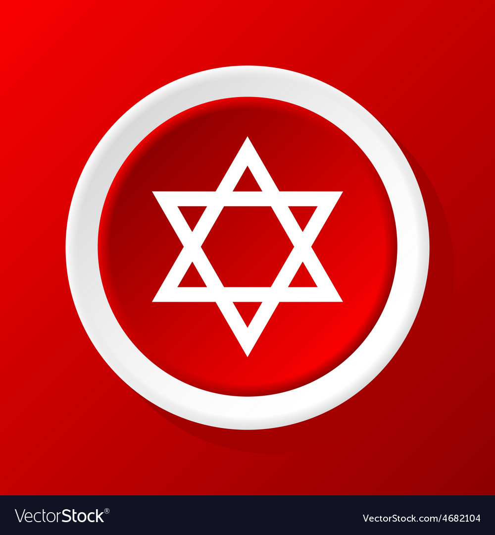 David star icon on red vector