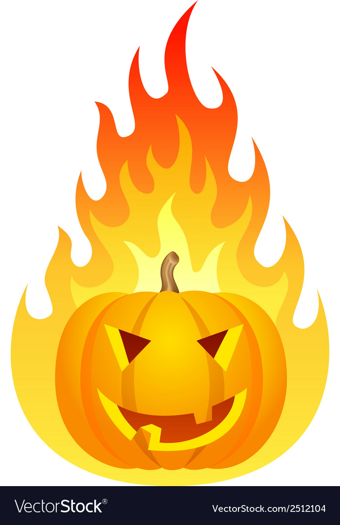 Halloween pumpkin on fire vector | Price: 1 Credit (USD $1)