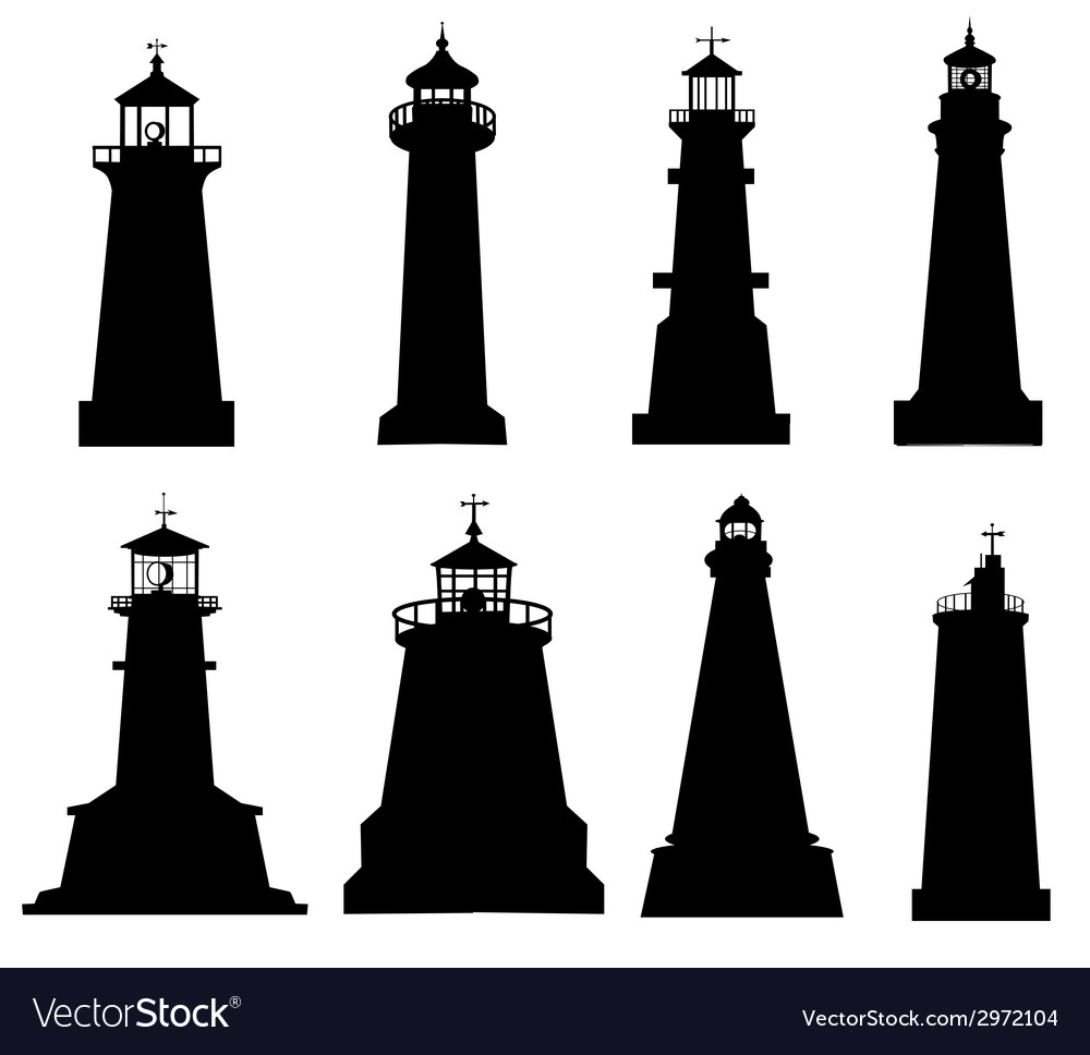 Lighthouse silhouette set vector | Price: 1 Credit (USD $1)
