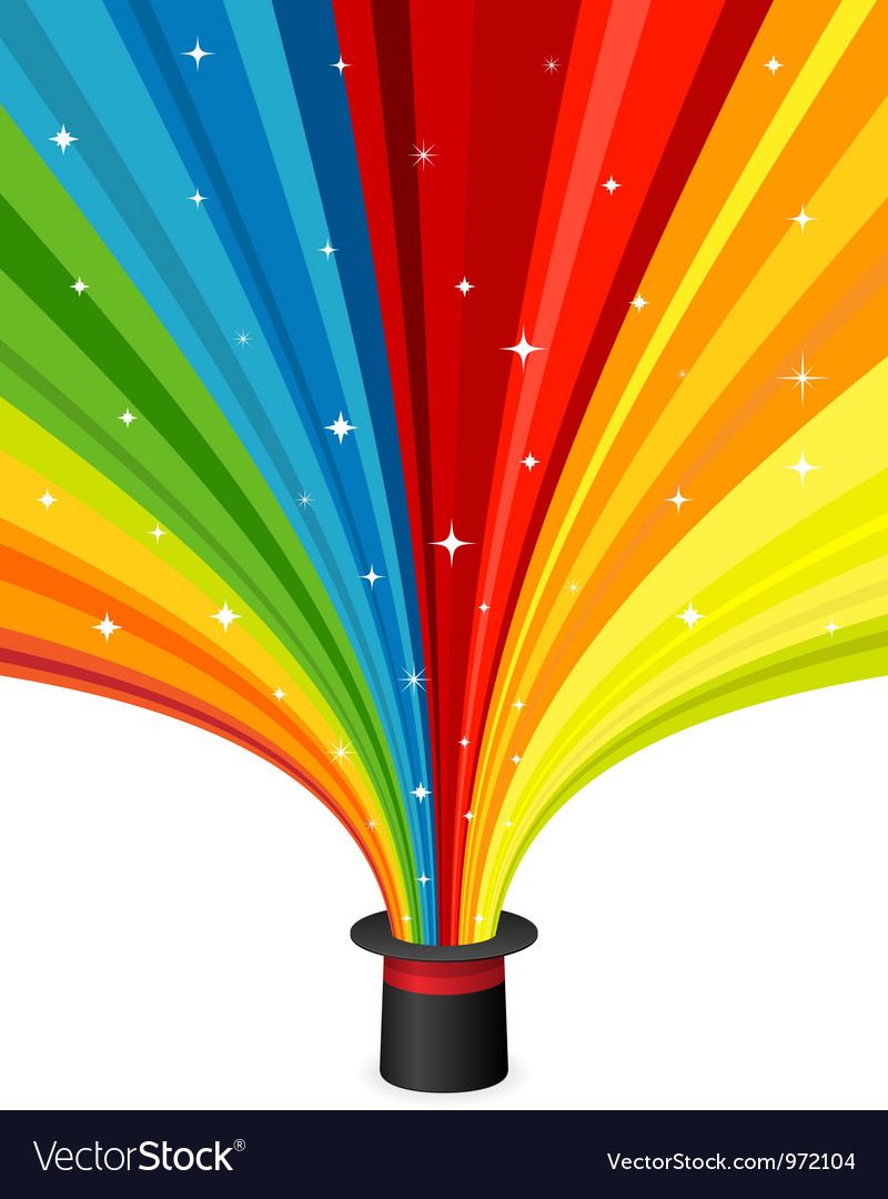 Magic hat with rainbow rays vector | Price: 1 Credit (USD $1)