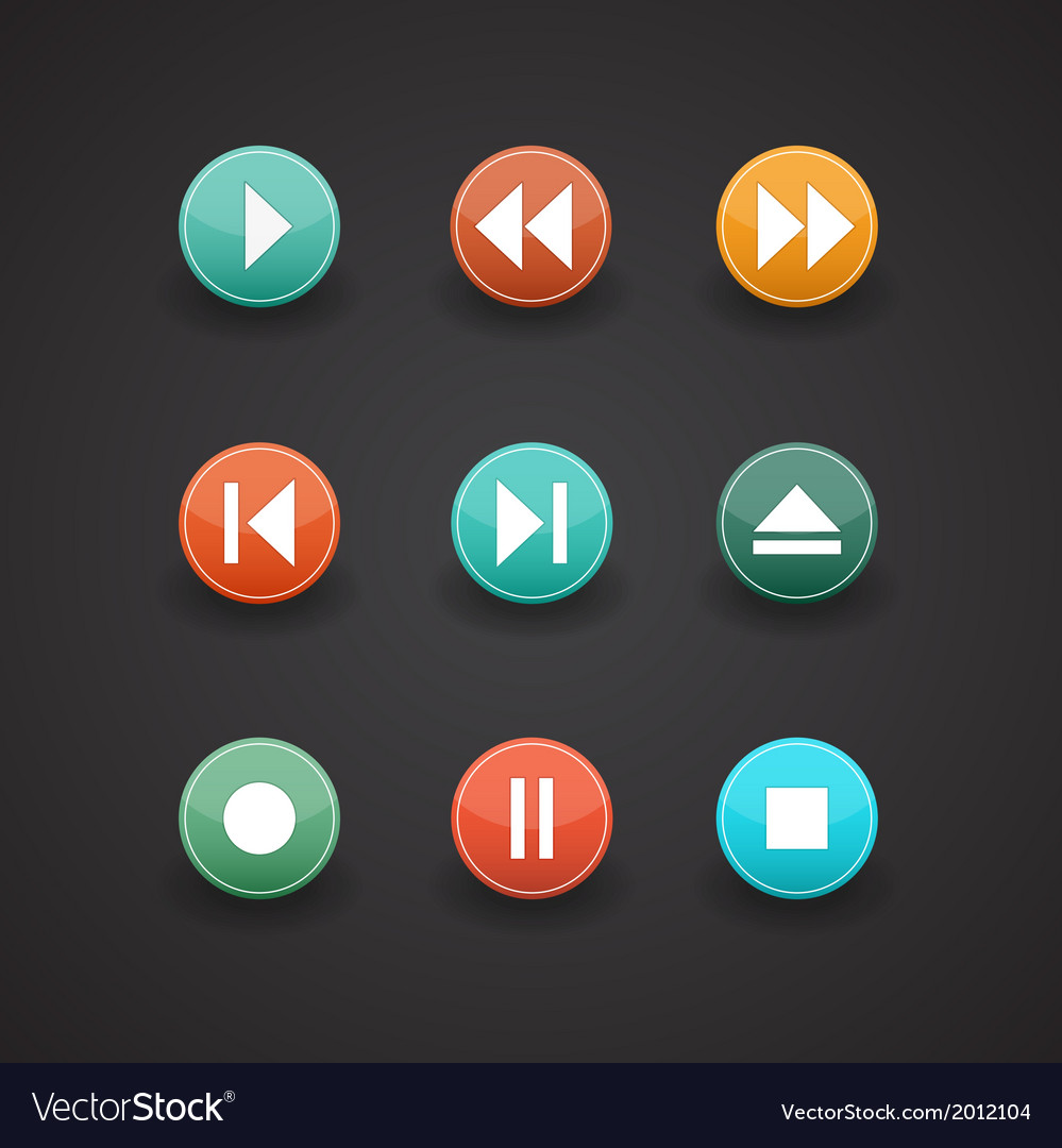 Media player web icons vector | Price: 1 Credit (USD $1)