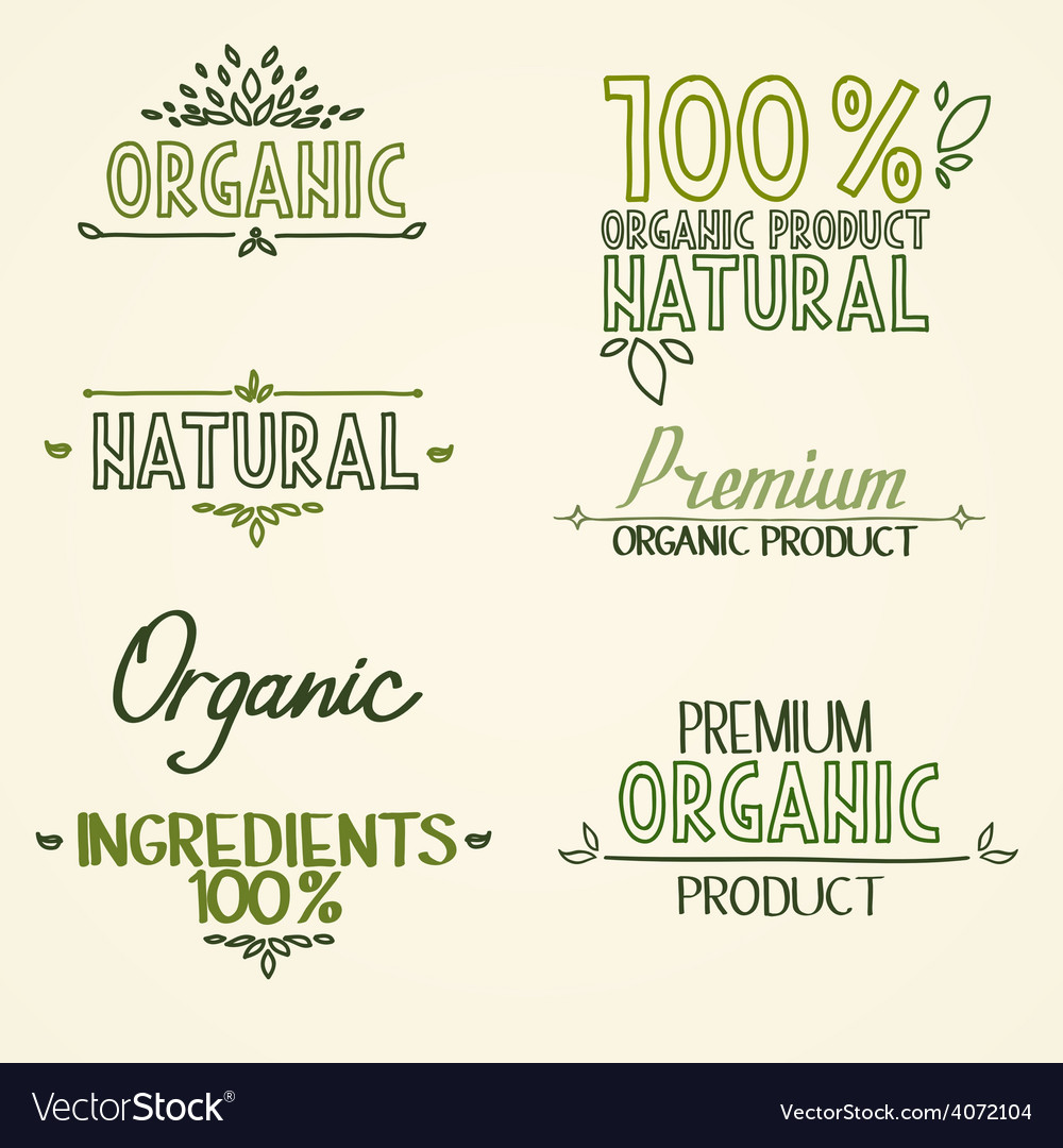 Organic health food headings natural product vector | Price: 1 Credit (USD $1)