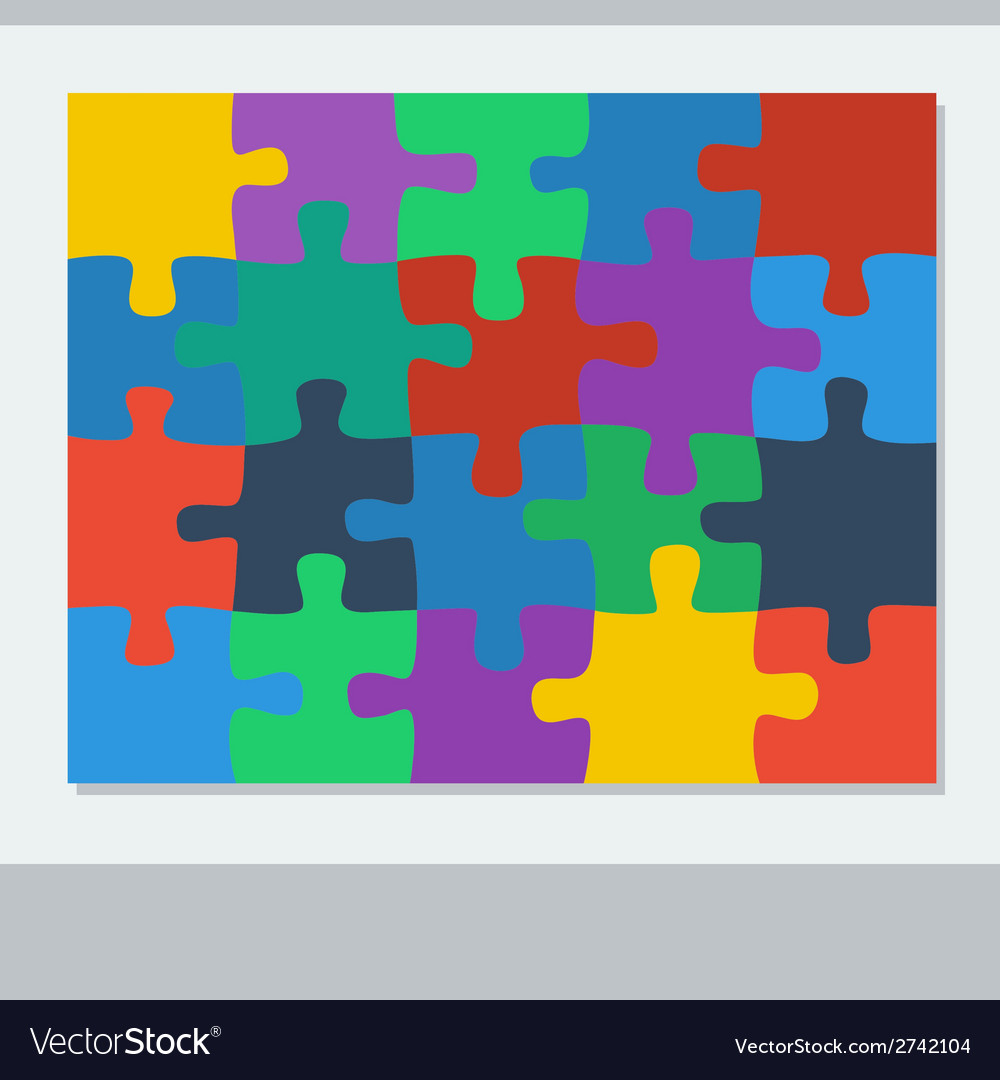 Puzzle of twenty pieces vector | Price: 1 Credit (USD $1)