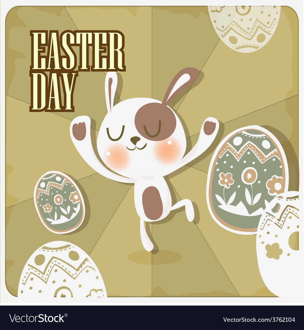 Rabbit in easter day vector | Price: 1 Credit (USD $1)