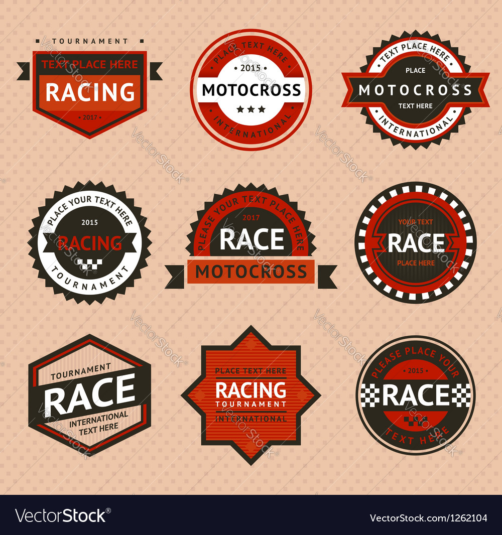 Racing badges vintage style vector   Price: 1 Credit (USD $1)
