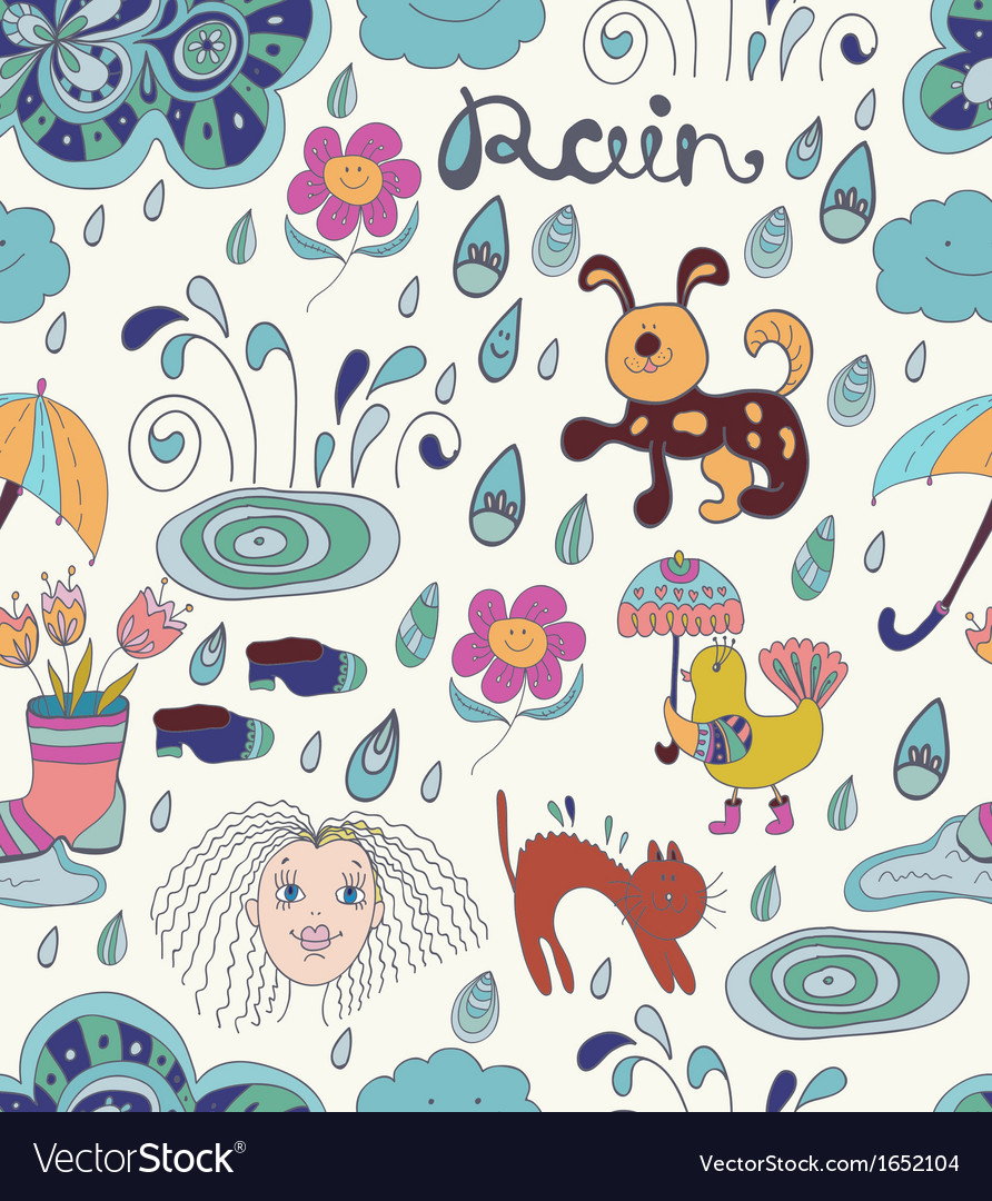 Rain cartoon seamless background with funny vector | Price: 1 Credit (USD $1)