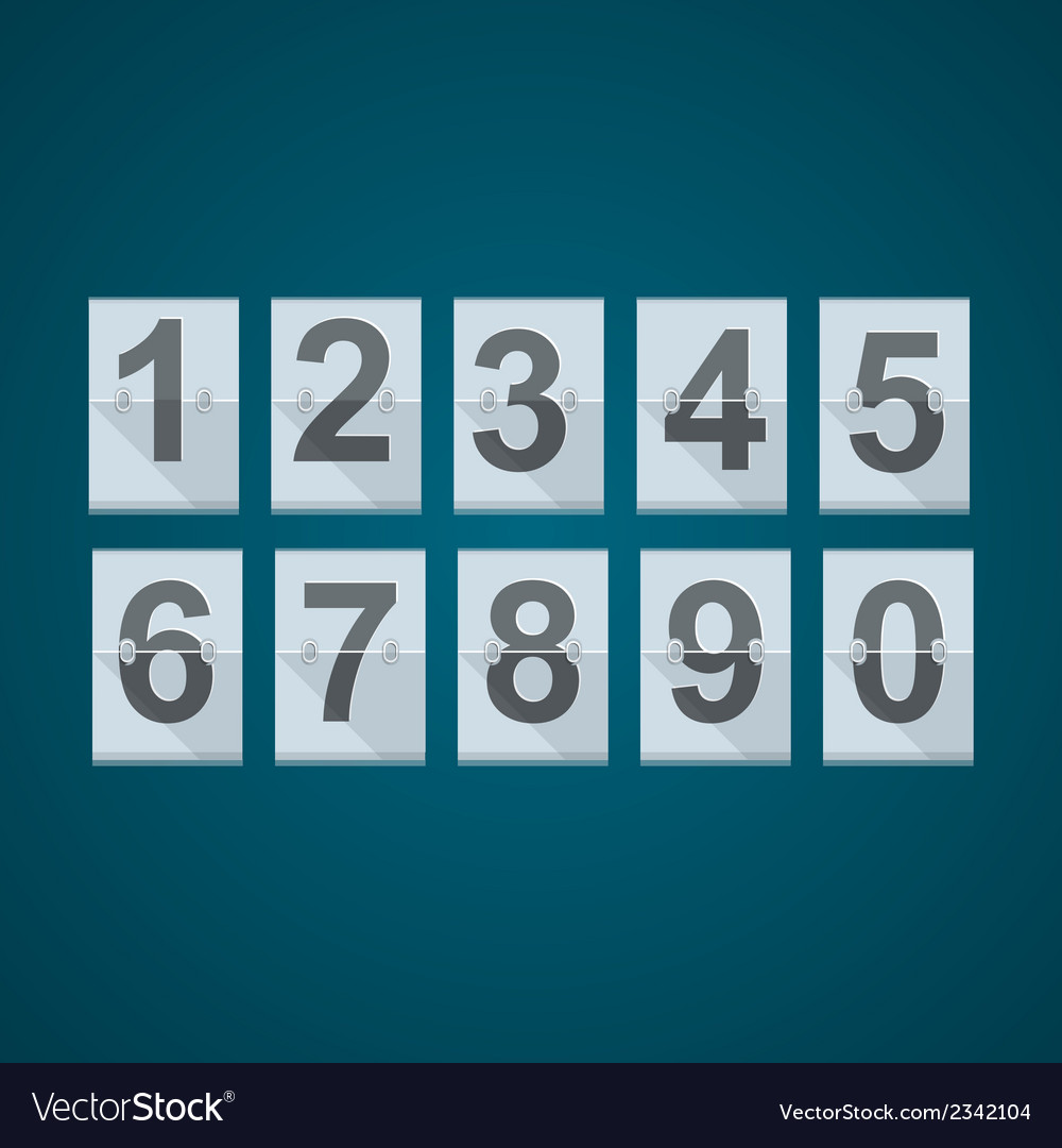 Set of numbers for mechanical scoreboard vector | Price: 1 Credit (USD $1)