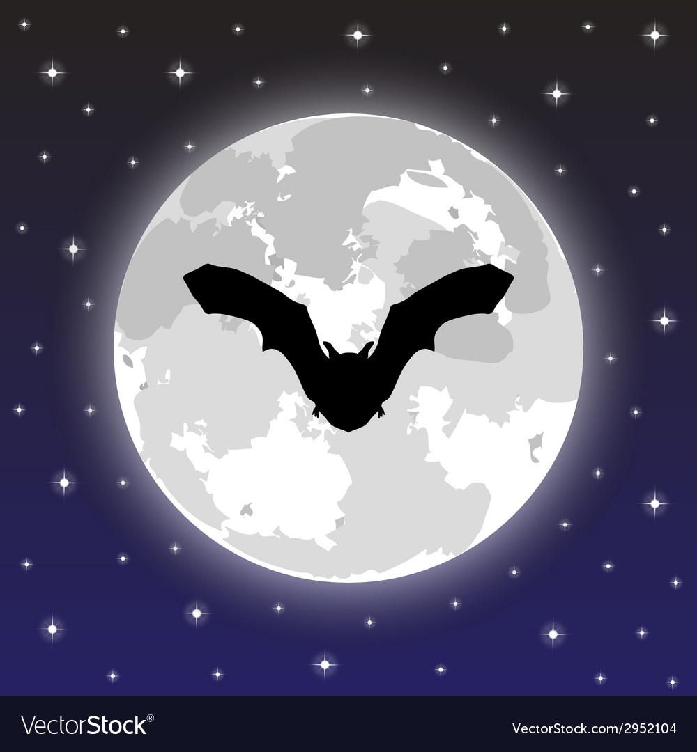 Silhouette bat on background of the full moon vector | Price: 1 Credit (USD $1)
