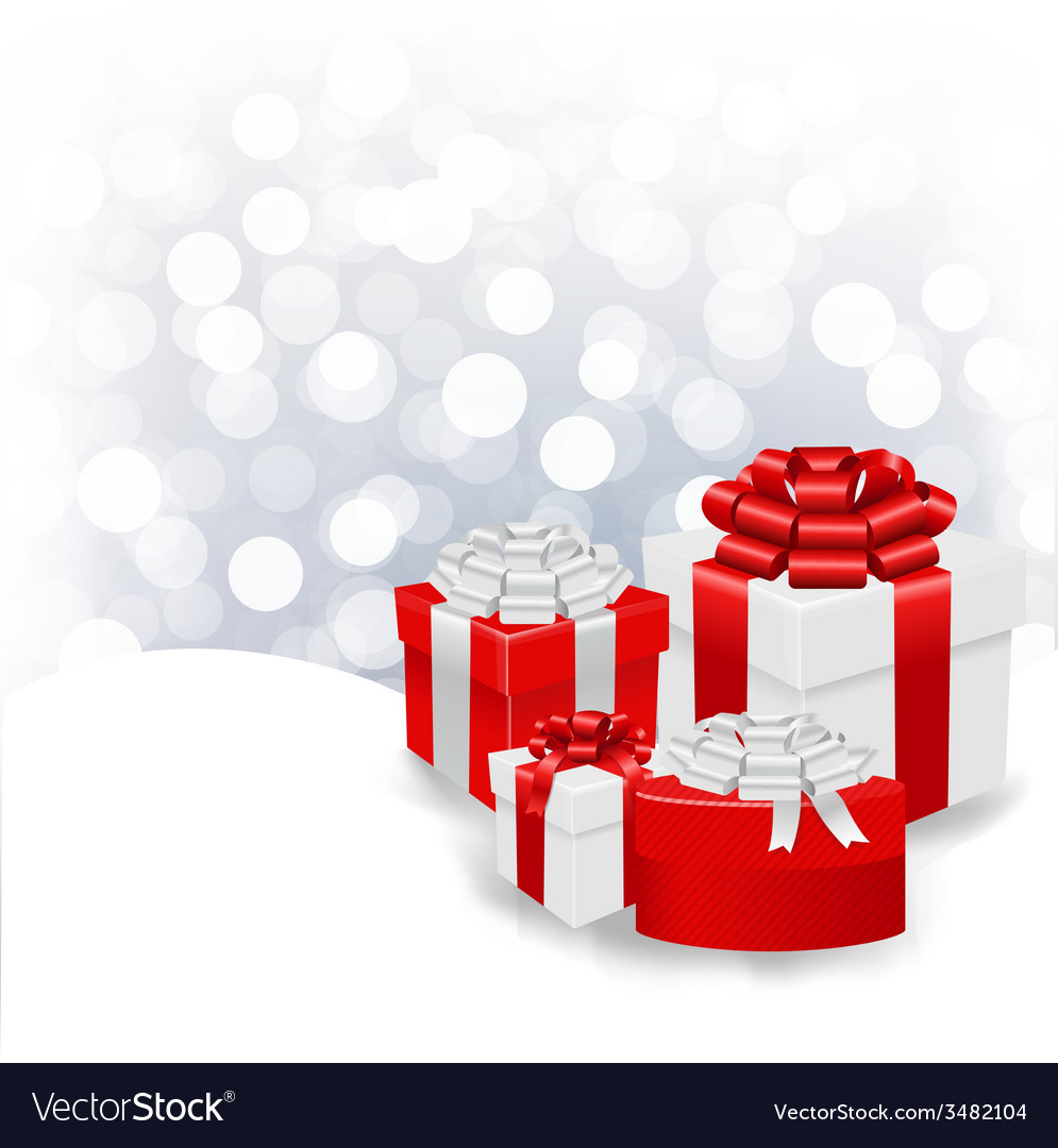 Silver bokeh xmas wallpaper with gift box vector | Price: 1 Credit (USD $1)