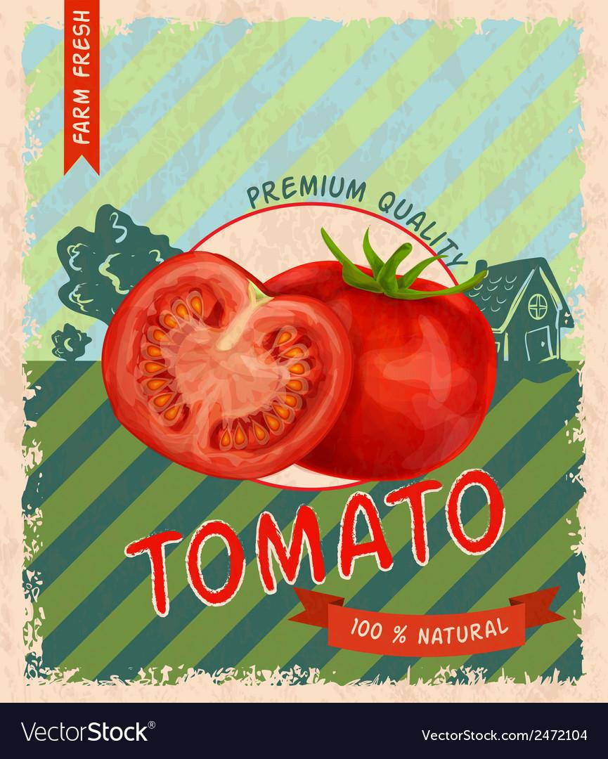 Tomato retro poster vector | Price: 1 Credit (USD $1)
