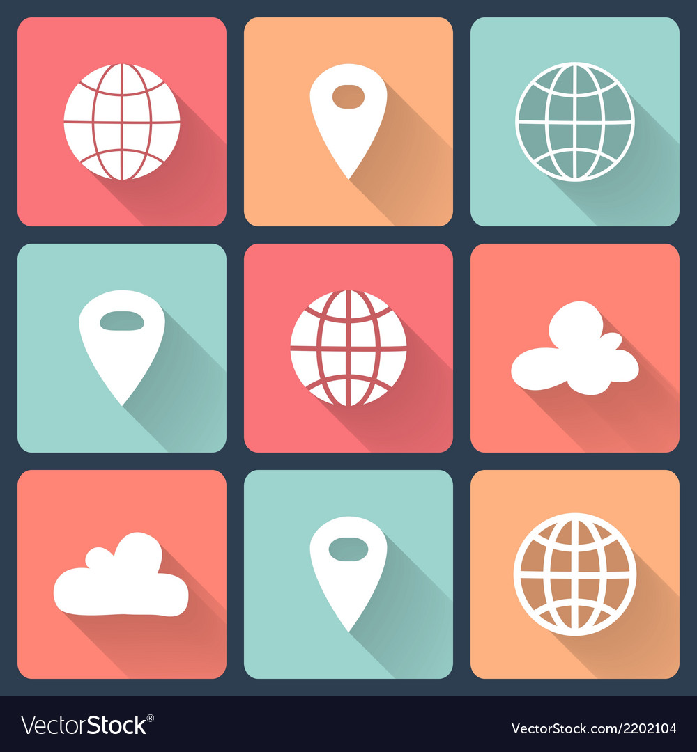 White map pin flat icons vector | Price: 1 Credit (USD $1)